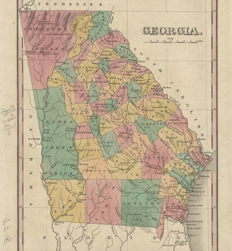 Map Of Georgia Colony.Johnston Felton Hay House